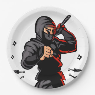 black ninja cartoon. 9 inch paper plate