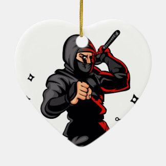 black ninja cartoon. ceramic heart ornament
