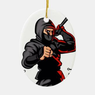 black ninja cartoon. ceramic oval ornament