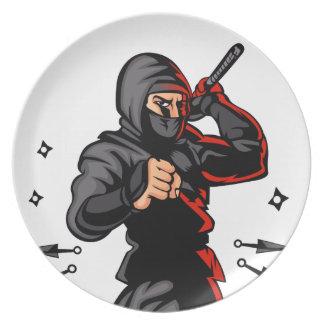 black ninja cartoon. plates