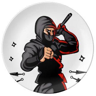 black ninja cartoon. porcelain plate