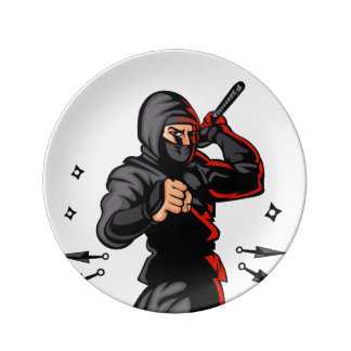 black ninja cartoon. porcelain plates