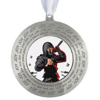 black ninja cartoon. round pewter ornament