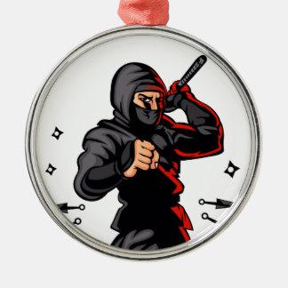 black ninja cartoon. Silver-Colored round ornament