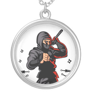 black ninja cartoon. silver plated necklace