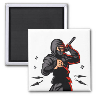 black ninja cartoon. square magnet