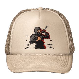 black ninja cartoon. trucker hat