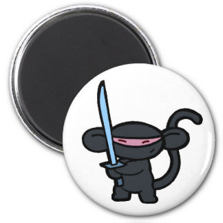 Black Ninja with Sword- No Words Refrigerator Magnets