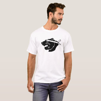 Black NinjaBear Logo on white T-shirt