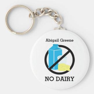 Black No Dairy Allergy Alert Kids Personalized Basic Round Button Keychain