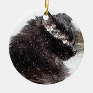 Black Norwegian Forest Cat in the Snow Ornament