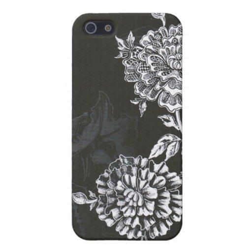 Black Nouveau Floral...iphone case Case For iPhone 5