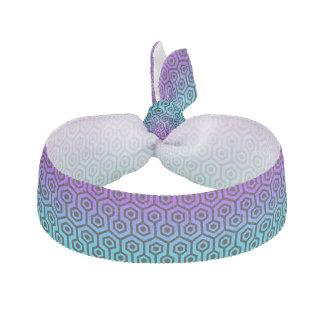 Black Octagonal Pattern Wit Purple & Blue Gradient Elastic Hair Ties