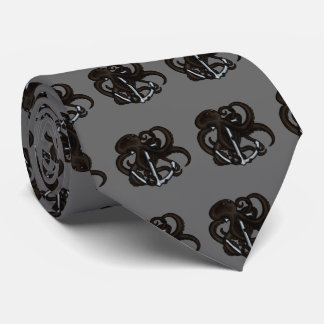 Black Octopus Over Anchor Tie
