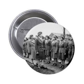 Black Officers Inspecting Troops WWII England 2 Inch Round Button