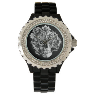 Black Ohm skull with sunflower eyes. Watch