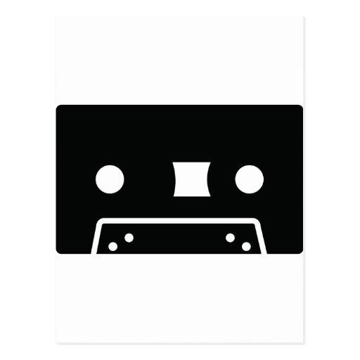 black oldschool tape icon post card