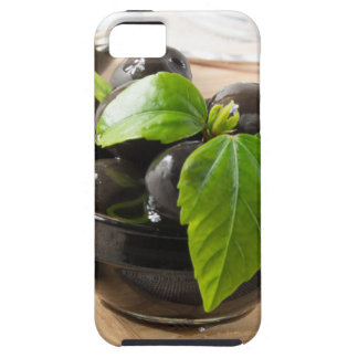 Black olives on a table and glass cups with oil iPhone 5 cover