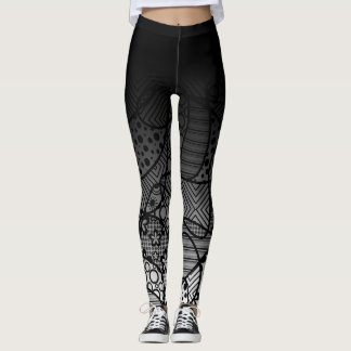 Black Ombre w/ Black & White Pattern Abstract 4 Leggings
