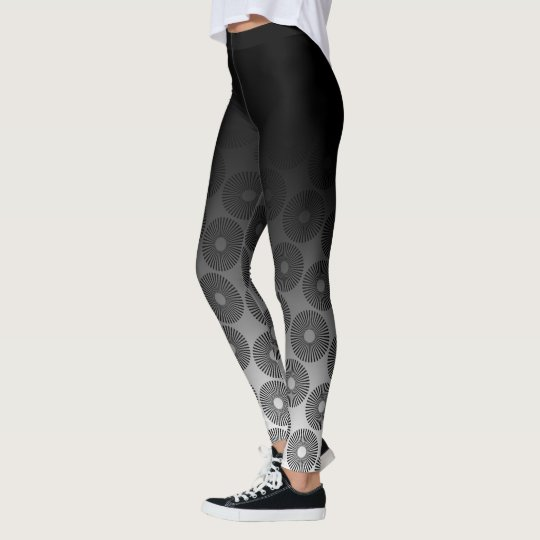 Black Ombre w/ Retro Black & White Round Pattern Leggings