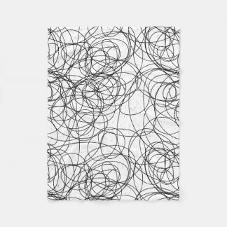 Black on Any Color Abstract Swirly Scribble Fleece Blanket