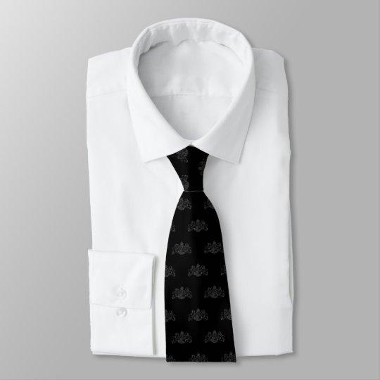 Black On Black Lion Unicorn Emblem Tuxedo Tie