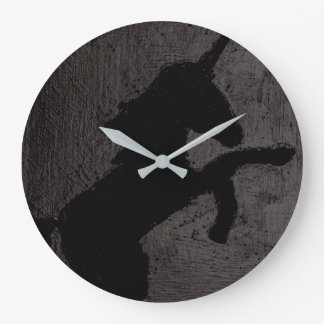 Black on Black on Black Unicorn Large Clock