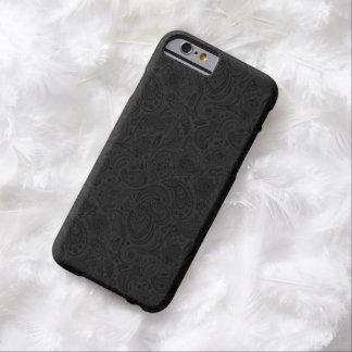 Black On Dark Gray Retro Paisley Damasks Lace 2 Barely There iPhone 6 Case