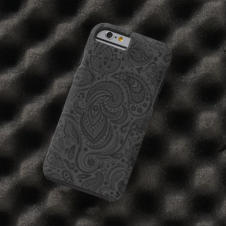 Black On Dark Gray Retro Paisley Damasks Lace Tough iPhone 6 Case