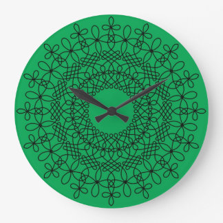 Black on Green Celtic Knot Mandala 1 Clock