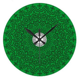 Black on Green Celtic Knot Mandala 2 Wall Clocks