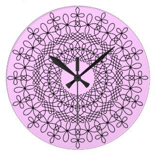 Black on Lavender Celtic Knot Mandala 1 Wall Clock