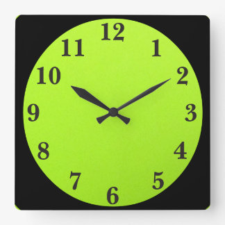 Black On Lime Green Square Wall Clock