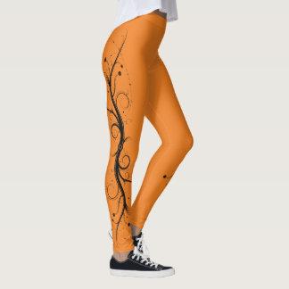 Black on Orange Squiggles and Swirls Leggings