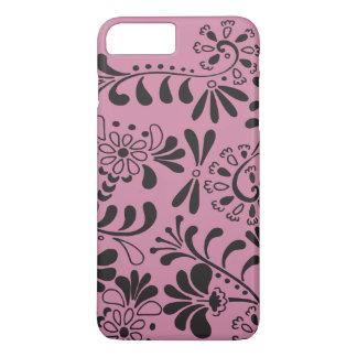 Black on pink abstract flowers iPhone 7 plus case