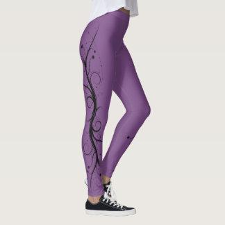 Black on Purple Squiggles and Swirls Leggings