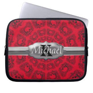 Black On Red Infinity Skulls Monogram Laptop Sleeve