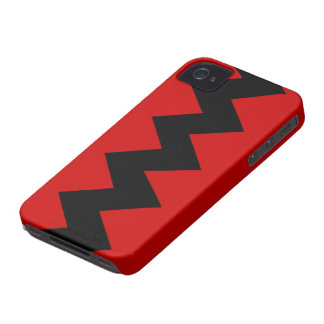 Black on Red Zig Zag iPhone 4/4S Barely There Case
