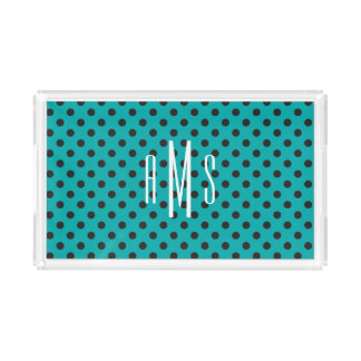 Black on Teal Dots with White Monogram Acrylic Tray