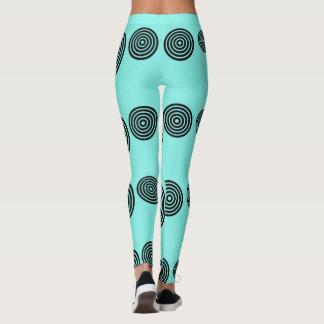 Black on turquoise spiral leggings