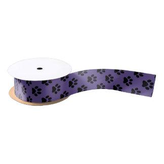 Black on Ultra Violet Cat/Dog/Animal Paw Print Satin Ribbon
