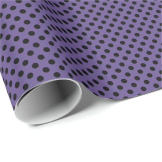Black on Ultra Violet Purple Polka Dot Wrapping Paper