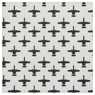 Black on White A-10 Warthog Attack Jet Pattern Fabric