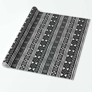Black on White African MudCloth Inspired Wrapping Paper