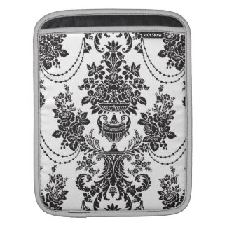 Black On White Baroque Floral Swirls Pattern iPad Sleeve