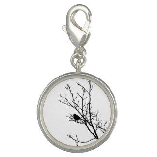 Black On White Bird Silhouette - Charm