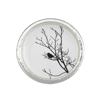 Black On White Bird Silhouette - Ring