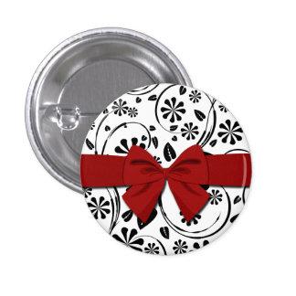 Black on White Daisy Flower Pattern 1 Inch Round Button