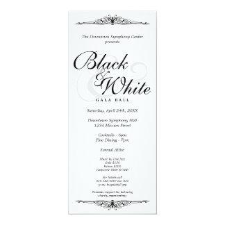 Black on white gala ball dance corporate long card