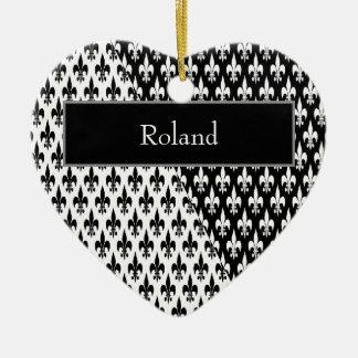 Black on White or White on Black Heart Ceramic Ornament